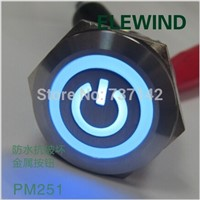 ELEWIND 25mm stainless steel power symbol  on/off push button switch(PM251F-11ZET/B/12V/S)