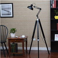 American personality vintage wooden floor lamp lift rocker arm lamp bedroom lamps