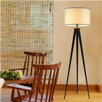 Chinese Tripod Floor Lamp Modern Bedroom Living Room Deco Light Black Iron Flaxen Fabric Lampshade Home Fixture E27 110-240V