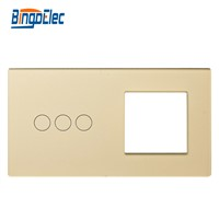 2fold EU standart DIY part 86*157mmToughened Glass 3button switch panel and one socket glass frame