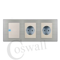 Coswall 16A EU Standard Wall Double Socket + 1 Gang 1 Way Light Switch With LED Indicator Stainless Steel Panel 236*86mm