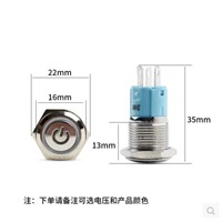5V 12V 220V Latching push button switch locked 16mm flat head fixed Push Button waterproof LED metal switch