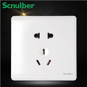 white surface type household 10A 5 poles 2p and 3p earth contact outlet wall socket