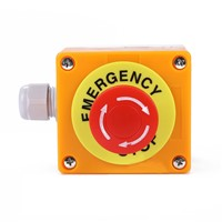 Red Sign Emergency Stop Push Button Mushroom Cap Waterproof Emergency Stop Push Button Switch NO+NC AC660V/10A