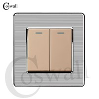 Coswall 2 Gang 1 Way Luxury Light Switch Push Button Wall Switch Interruptor Stainless Steel Panel AC 110~250V