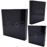 EU Standard  Touch Switch 1 Gang/2 Gang/3 Gang 1 Way,Single Fireline Wall Light Switch,Black Crystal Tempered Glass