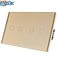European 4gang glass panel touch light switch, AC110-250V Hot Sale