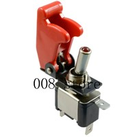 New 12V 20A Illuminated Dark Red LED Toggle Switch Control ON/OFF + Aircraft Missile Style Flip Up Cover