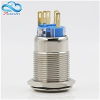 19 mm reset button switch moment motor start button 3 a 220 v copper plating nickel head can be customized