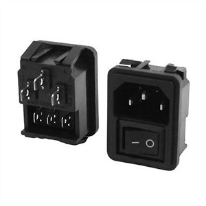 2pcs On/Off Rocker Switch C14 Inlet Male Power Plug Socket AC 250V 10A