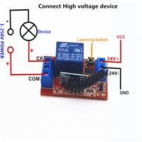 DC 24V 1CH 433Mhz Universal Wireless Remote Control Switch 10A Relay Receiver Module  RF Transmitter 433 Mhz Remote Controls