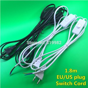 10 PCS On Line Cable 1.8m On Off Power Cord For LED Lamp with Push Button switch US EU Plug Wire Light Switching Black White