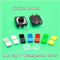 Sample 100 sets A14 Tactile Push Button Switch Cap with transparent cover + 12*12*7.3MM micro button switch for PCB