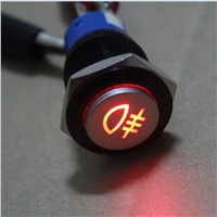 Black case 19mm Red LED car Fog lights symbol metal Push Button on/off switch