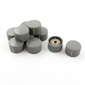 6mm x 32mm Volume Control Gray Plastic Nonslip Potentiometer Knob