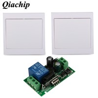 433MHz Wall Panel Transmitter Relay Receiver Remote Control Switch Wall Panel Transmitter Home Room Stairway Light LED Lamps D40
