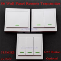 86 Wall Panel Remote Transmitter 1 2 3 Button Sticky RF TX Smart Home Room Hall Living Room Bedroom Wirelss Remote315/433 ev1527