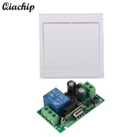 QIACHIP 433Mhz 86 Wall Panel RF Remote Transmitter and 433 Mhz AC 110V 220V 1CH Wireless Remote Control Switch RF Relay Receiver
