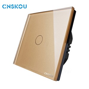 EU standard touch switch 1gang 1way crystal glass panel touch sensor switch wall  electrical switch Cnskou manufacturer