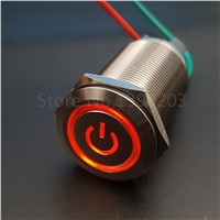 22mm Stainless Steel Red 12V LED Power Symbol Latching Push Button Switch 1NO 4Pin 10A/220V Screw Terminals