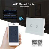 QIACHIP US Plug Version 2 Gang 2 Way Wifi Wall Sensor Touch Switch Work With Amazon Alexa Smart Home Remote Control On Off Touch