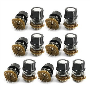 2P5T 2-Pole 5-Position 9mm Thread 6mm Knurled Shaft Selector Rotary Switch 13Pcs