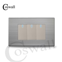 COSWALL US Standard 3 Gang 2 Way Light Switch With LED Indicator Push Button Wall Switch Stainless Steel Panel 118mm * 72mm