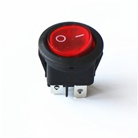 JOYING LIANG 224N Red with Light ON/OFF 4 Feet 6A 250V Power Switch Round Rocker Switches (2pcs/lot)