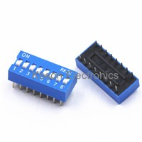 5Pcs DIP Switch 8 Way 2.54mm Toggle Switch Blue Snap Switch