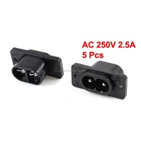 IEC320 C8 Black 2 Terminal Power Plug Inlet Socket AC 250V 2.5A 5 Pcs