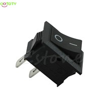 1PC 250V 3A Mini Boat Rocker Switch SPST ON-OFF KCD1-2Pin Black Plastic Button  828 Promotion