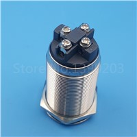 Blue 12V LED 22mm Power Symbol 1NO 4Pin Latching Push Button Switch 10A/220V Screw Terminals