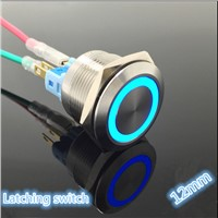 Angel Eyes Light Car Auto Metal LED Push Button Switch Latching Type On-off 3v 5v 6v 12v 24v 48v 110v 220v 12mm Waterproof