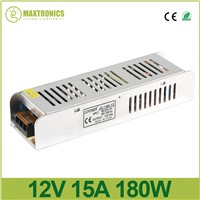 DC12V 180W 15A Slim Power Supply AC to DC Adapter Switch electronic Driver transformer 5050 3528 LED Strip Light tape 110V 220V