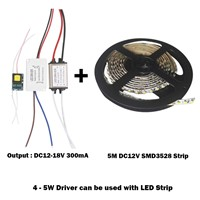 4-5W LED Plastic Driver Power Supply Adapter DC12-18V AC85 - 265V Constant Current 300mA Transformer For 5050/3528 LED Strip