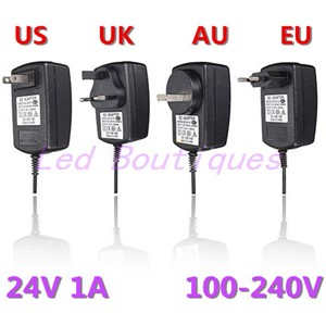 New AC110v-220v Converter Adapter to DC 24V 1A 24w Power Supply Charger Driver for LED Strip Light CCTV US UK EU AU plug