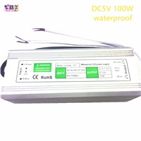 5V 20A waterproof IP67 Switching power supply 100W Driver Adapter Transformer 100-240V AC Power for Led Strip Display lamp