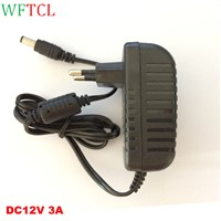 DC 12 Volt 3 Amp Wall Power Supply Adapter Switching 36W Regulated Transformer 5.5*2.1mm with DC Jack for LED Strip Lights ,CCTV