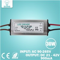 30W 10Series3 parallel Waterproof LED Light Driver Transformer Lamp Current 855-900mA Output DC21-42V Power Supply Adapter