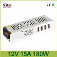 DC12V 180W 15A Slim Power Supply AC to DC Adapter Switch electronic Driver transformer 5050 3528 LED Strip Light tape AC 220V