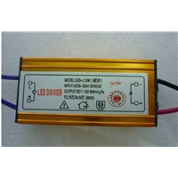 Gold color ce rohs 10W Waterproof Constant Current LED Driver DC7V~12V 900mA for 10w led chip 2 years warranty 2pcs/lot