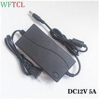 DC12V 5A 60W LED Lighting Transformers AC 100-240V to DC 12V/5A Power Supply Adapter 5.5 x 2.1mm for LED Lights CCTV Camera DVR