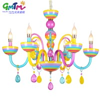 Colorful chandelier glass crystal modern for restaurant/bedroom/dinning room/living room children candle lamp lustre para quarto
