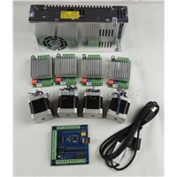 mach3 CNC USB 4 Axis Kit, 4pcs TB6600 driver+ mach3 USB stepper motor controller 100 KHz+ 4pcs nema17 motor+power supply