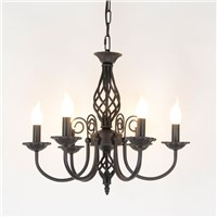 Vintage Wrought Iron Chandelier E14 Candle Light Lamp Black White Metal Lighting Fixture