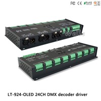 LTECH led controller LT-924-OLED;24CH CV DMX Decoder;with signal amplifier function;DC12-24V input;3A*24CH output