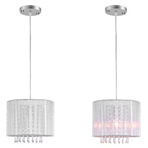 Modern Crystal Chandelier K9 Crystal Lustres De Cristal Fixture White Fabric Chandelier Living Bedroom Lamp E14 90~260v WPL043