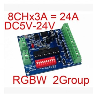 RGBW DMX Decoder 2 Groups 4-channel  DMX512 Controller Easy to DMX control, DMX 512 decoder board DC5V-24V New