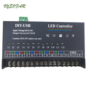 USB DIY LED RGB RGBW Controller 12 Channel Programmable Controller 5A*12CH;12Channels LED Controller for 3528&5050 led strip