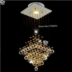 Modern crystal chandelier penthouse stair long hallway entrance foyer chandelier lighting bar balcony